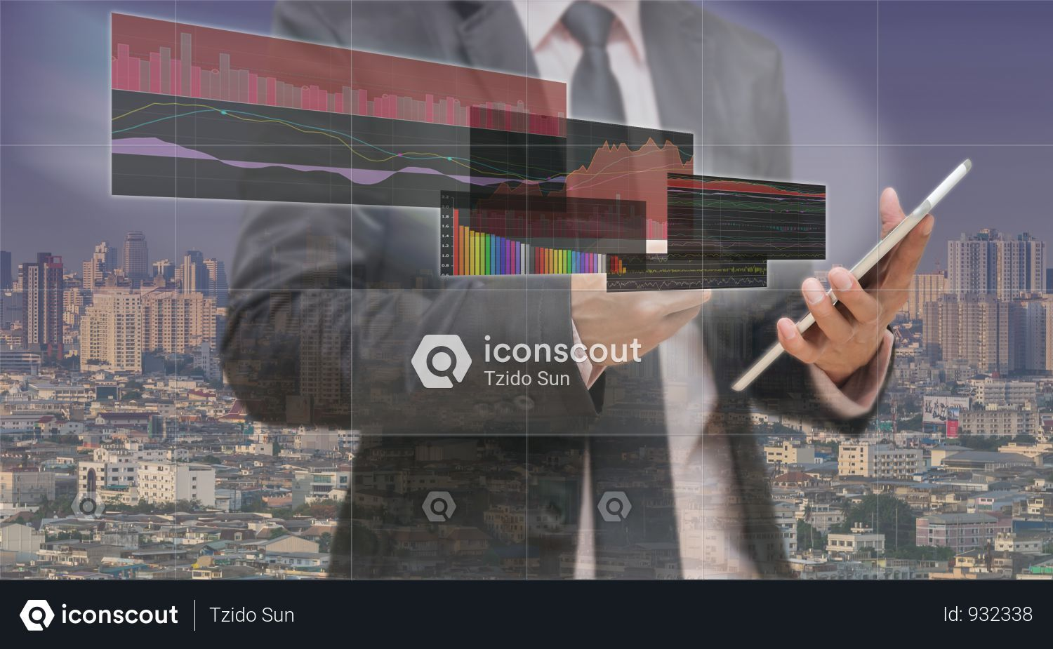 Businessman Using The Tablet Shown The Trading Graph Of Stock
