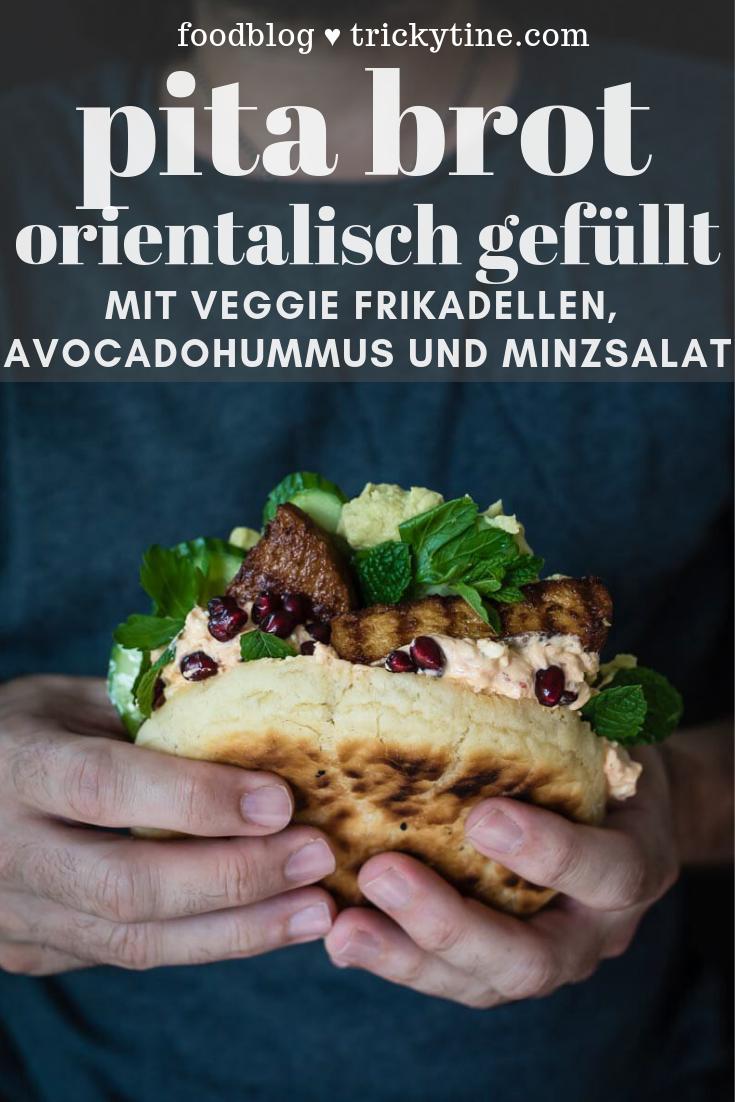 Pfannen-Pita-Brote mit Veggie Frikadellen im Oriental-Style - trickytine