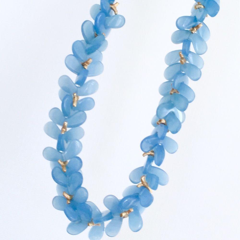 Vintage Lucite Floral Necklace Lapis Blue Designer Haute Couture