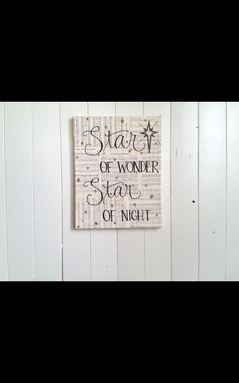 star of wonder star of night handlettered canvas christmas hymn art holiday decor canvas song art by joyandroses on etsy