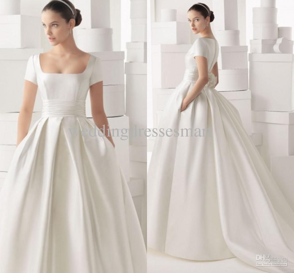 Wholesale Sheath Wedding Dresses Buy 2014 Satin Vintage Wedding Dresses Shor Square Neckline Wedding Dress Wedding Dress Necklines Short Sleeve Wedding Dress