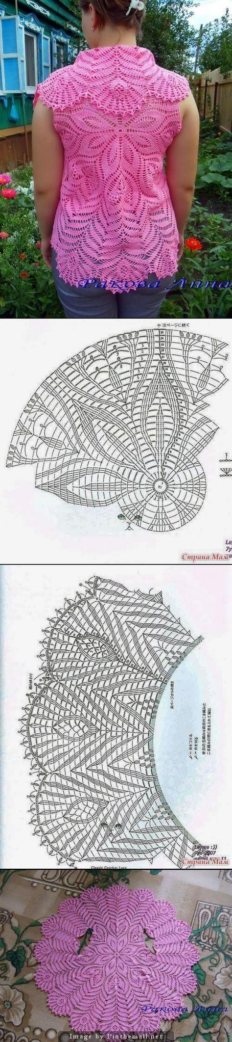 Crochet lace circular vest ~~ | häkeln | Pinterest | Chalets, Tejido ...