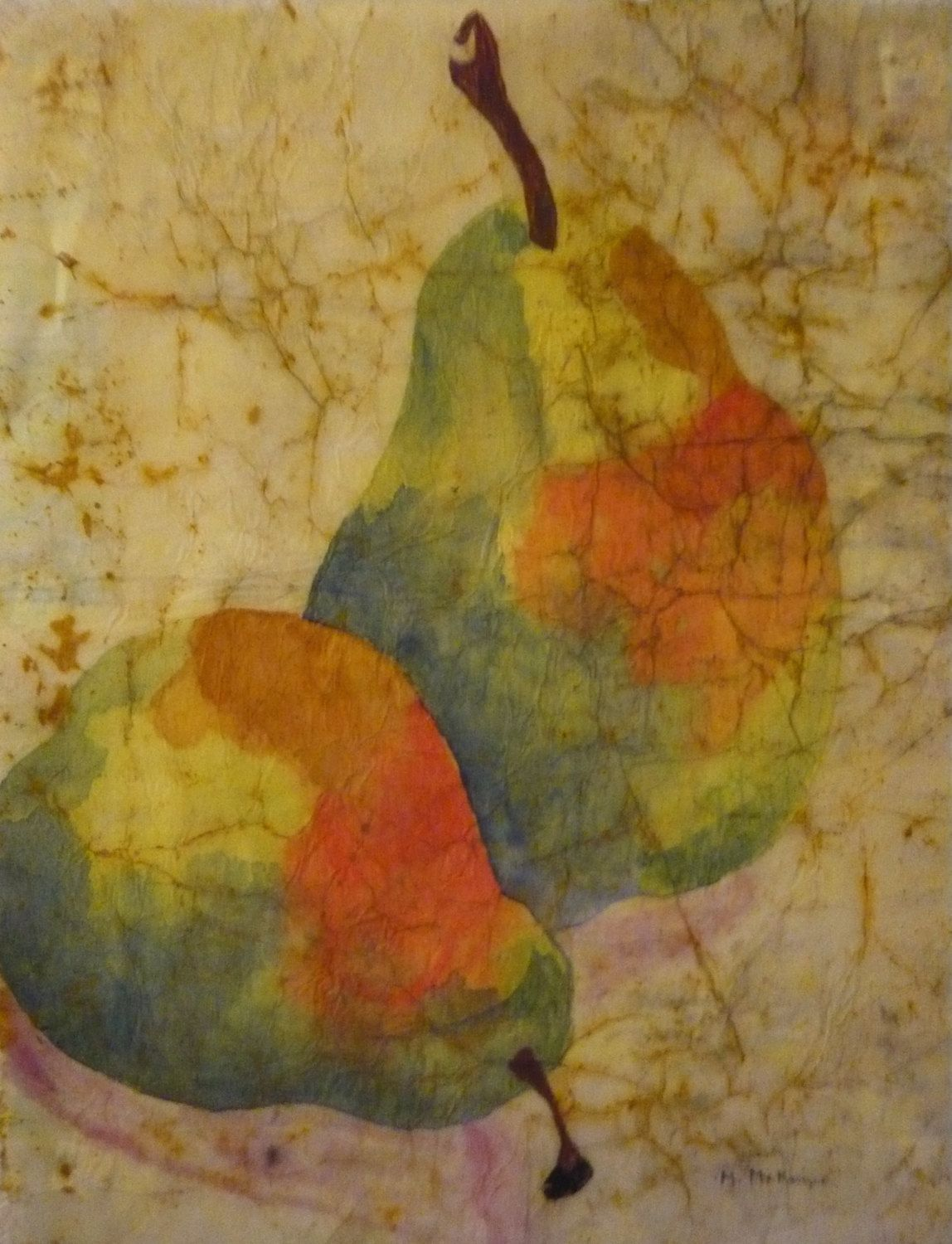 Original pear painting kitchen decor pears lime green bright orange