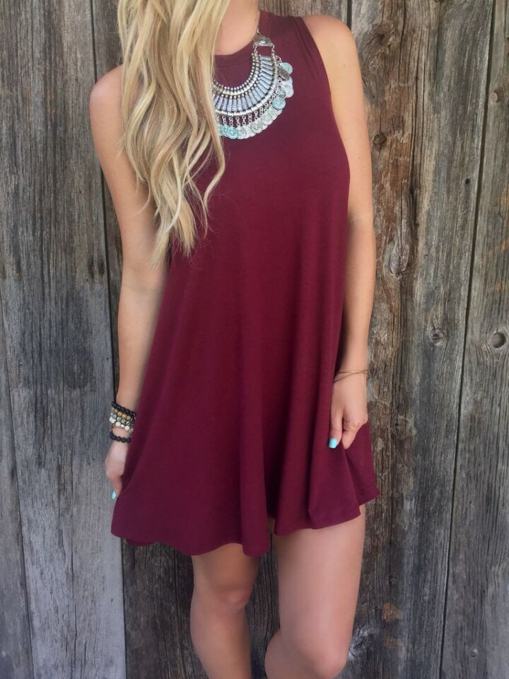 Pure Color O-neck Sleeveless Loose Short Dress - Oh Yours Fashion - 2