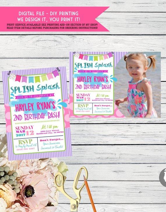Splash PartyPersonalized Birthday Invitation Digital File PurPnk01