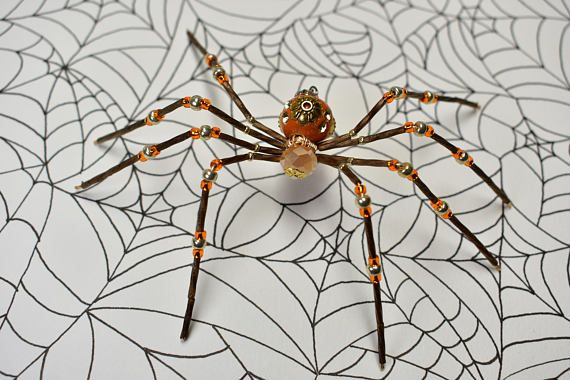 Orange and brown beaded spider Specially handmade for the Halloween - halloween decorations for your car