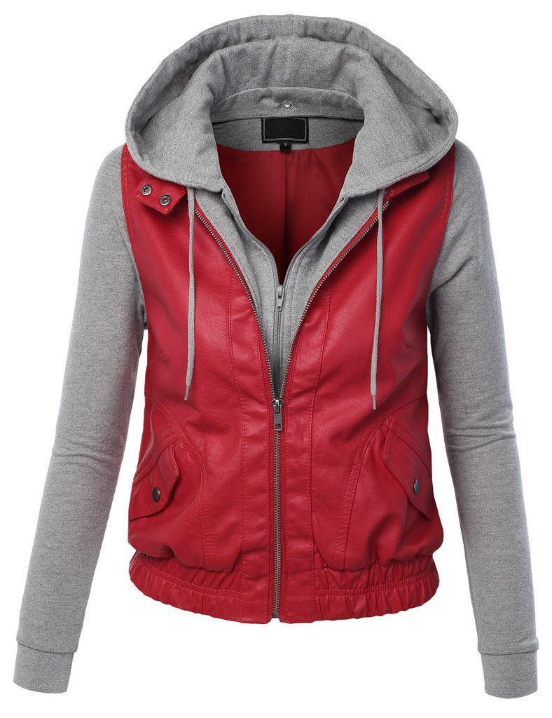 Womens Faux Leather Zip Up Moto Biker Jacket With Hoodie | Bikers ...