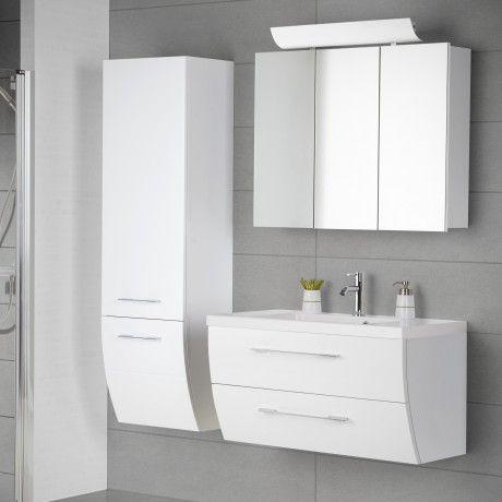Scanbad Rumba Badmöbelset 90cm mit 2 Schubladen, Spiegelschrank mit