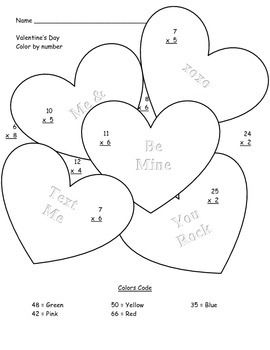 Color by number math heart worksheet coloring pages valentines day color by number valentines day math activities back to school color by number color by number math heart ccuart Choice Image
