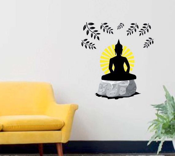 Buddha Wall Decal   Reusable Vinyl Fabric   Repositionable Decal   Home  Decor   Buddhism Wall Decal