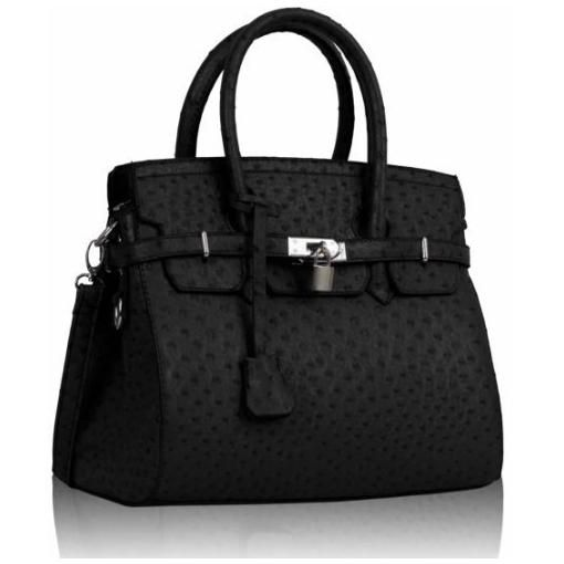 87-Womens-Black-Padlock-Faux-Ostrich-Tote-Office-Handbag-Long ...