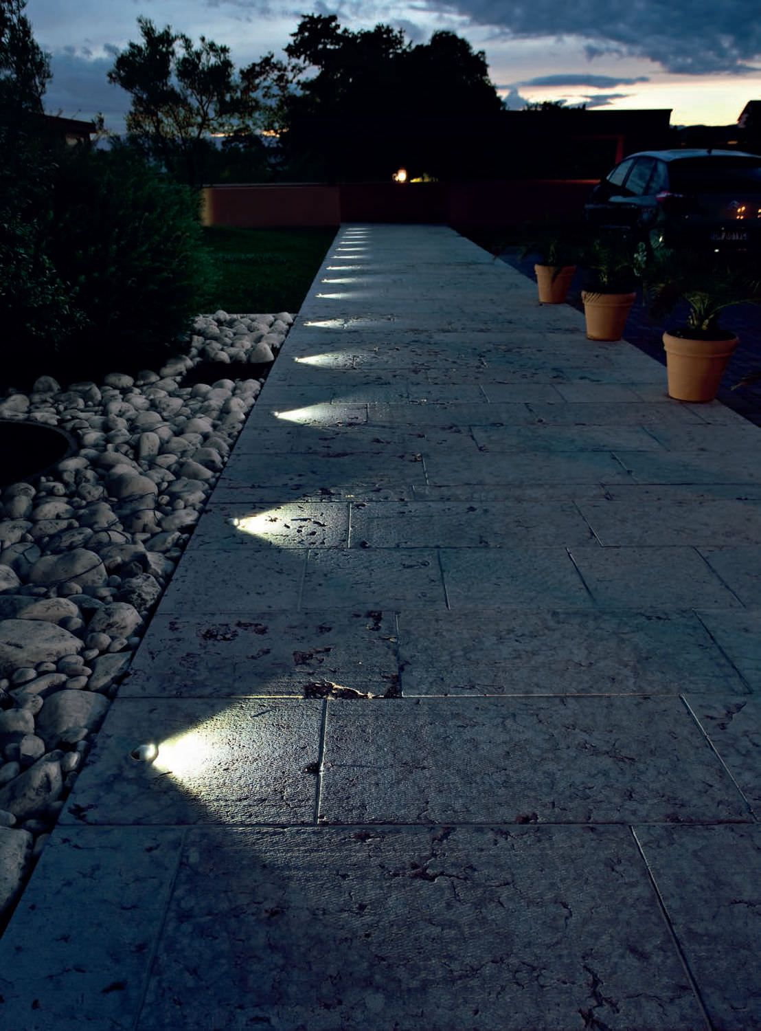 in ground lighting. Recessed, In Ground Lighting Suddenly Turns This Pathway Into A Nightime Feature. T