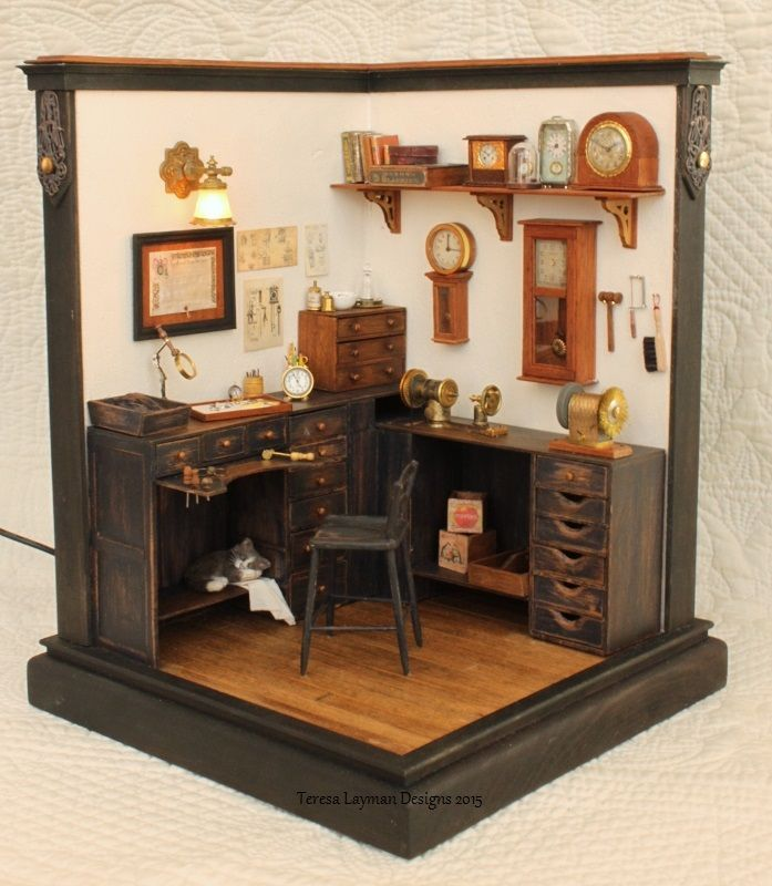Miniature Watch And Clock Repair Shop Room Box In 1 12 Scale Room Box Miniatures Miniature Rooms Miniature Furniture