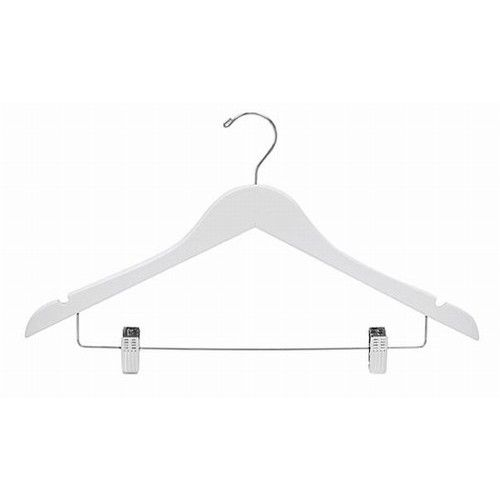 """White Wooden #Suit Hanger with Clips, Finish : White, Length : 17"""" Inch, Thickness : 7/16"""" Inch, Clips/Hooks : Adjustable Chrome Clips; Chrome Swivel Hook, Price : $47.95 (Bundle of 25 - $47.95) #Hangers #Closet"""