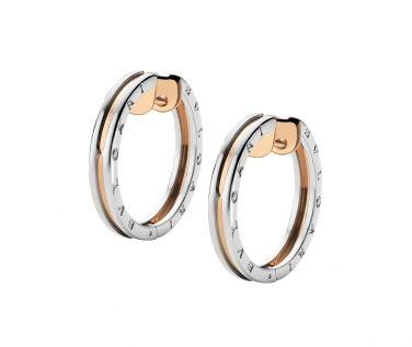bulgari bzero 1 18ct pink gold and steel hoop earrings or855433 from berryu0027s jewellers