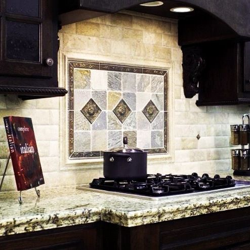 Traditional Travertine Tile Kitchen Backsplash With An Old World