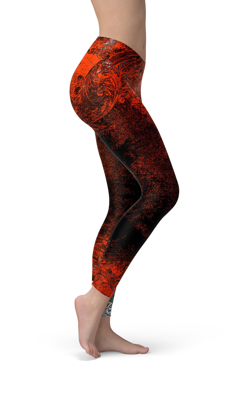 4cc4a4111e Grunge Print Leggings Workout Leggings Orange Black Yoga Pants Yoga Leggings  Womens Leggings Printed Leggings Workout Pants Workout Clothes  #workoutpants ...