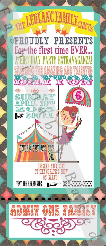 Digital print at home Circus/Carnival girl acrobat birthday party ...