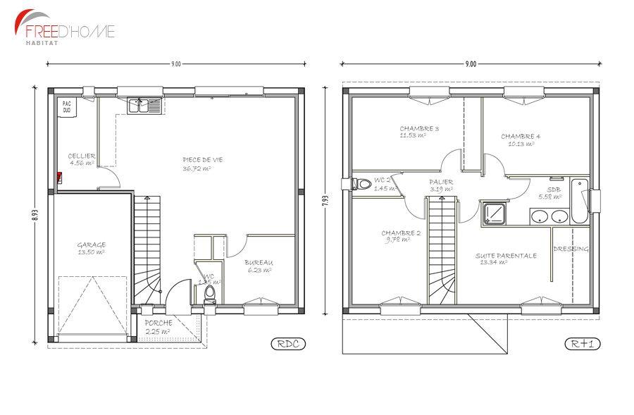 Resultat De Recherche D Images Pour Plan De Maison Sur Demi Lot Plan Maison 100m2 Maison 100m2 Plan Maison 90m2