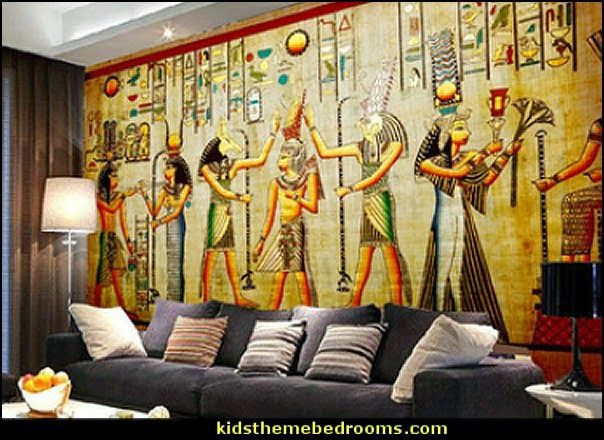 Egyptian Theme Bedroom Decorating Ideas Decor Furniture Themed Home Pyramid Wall Murals