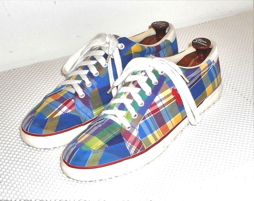 Polo Ralph Lauren Men's Madras Plaid Canvas Deck Oxford Shoe  12 D #PoloRalphLauren #CanvasDeckCasualOxford
