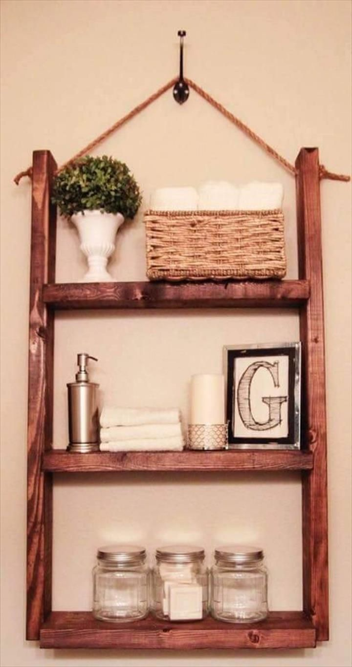 Wall Hanging Pallet Display Shelf 150 Wonderful Pallet Furniture Ideas 101 Pallet Ideas Wooden Bathroom Shelves Hanging Bathroom Shelves Diy Space Saving