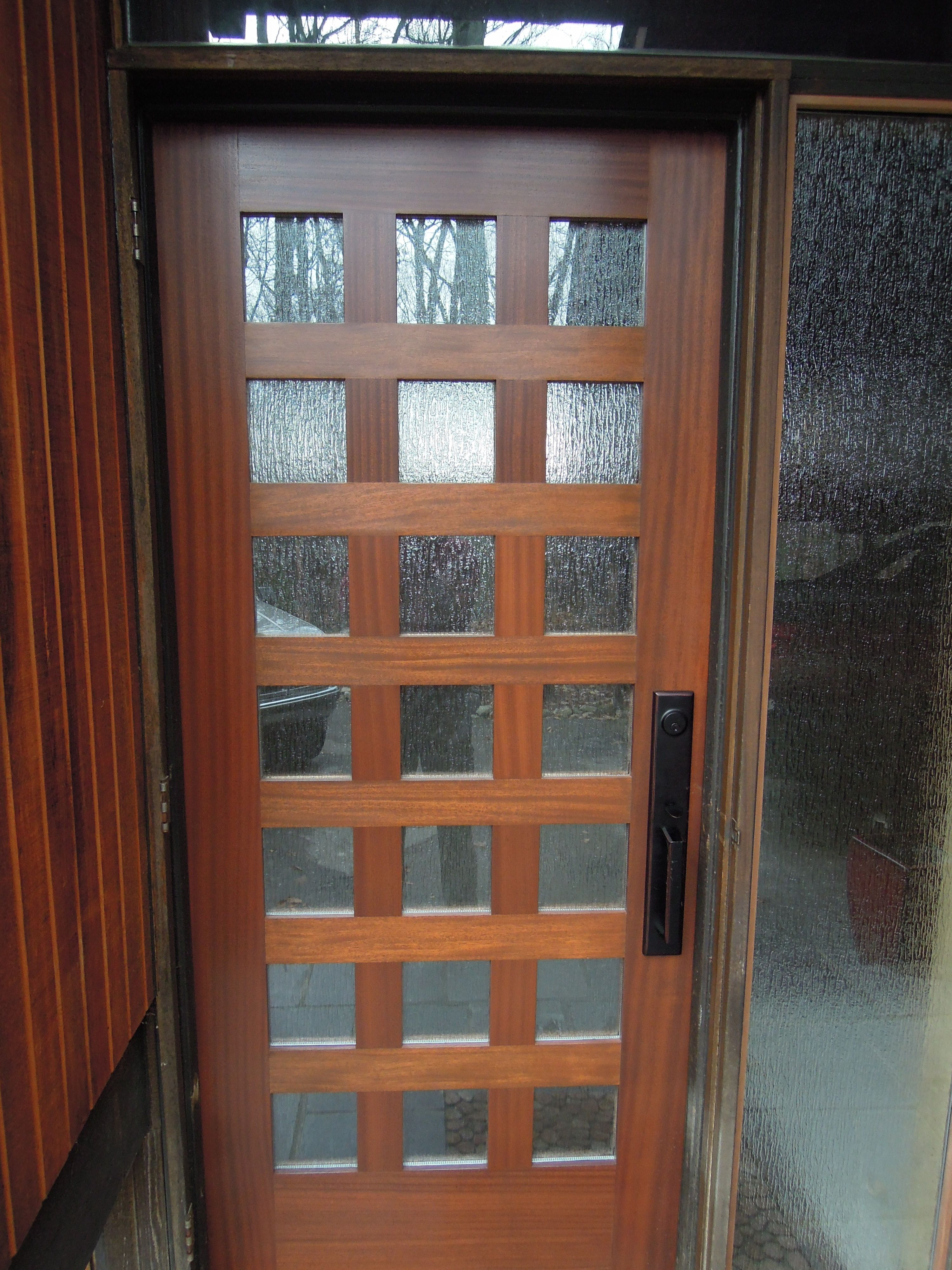 Exceptional teak wooden mirror lite modern front door with for Modern entrance door design
