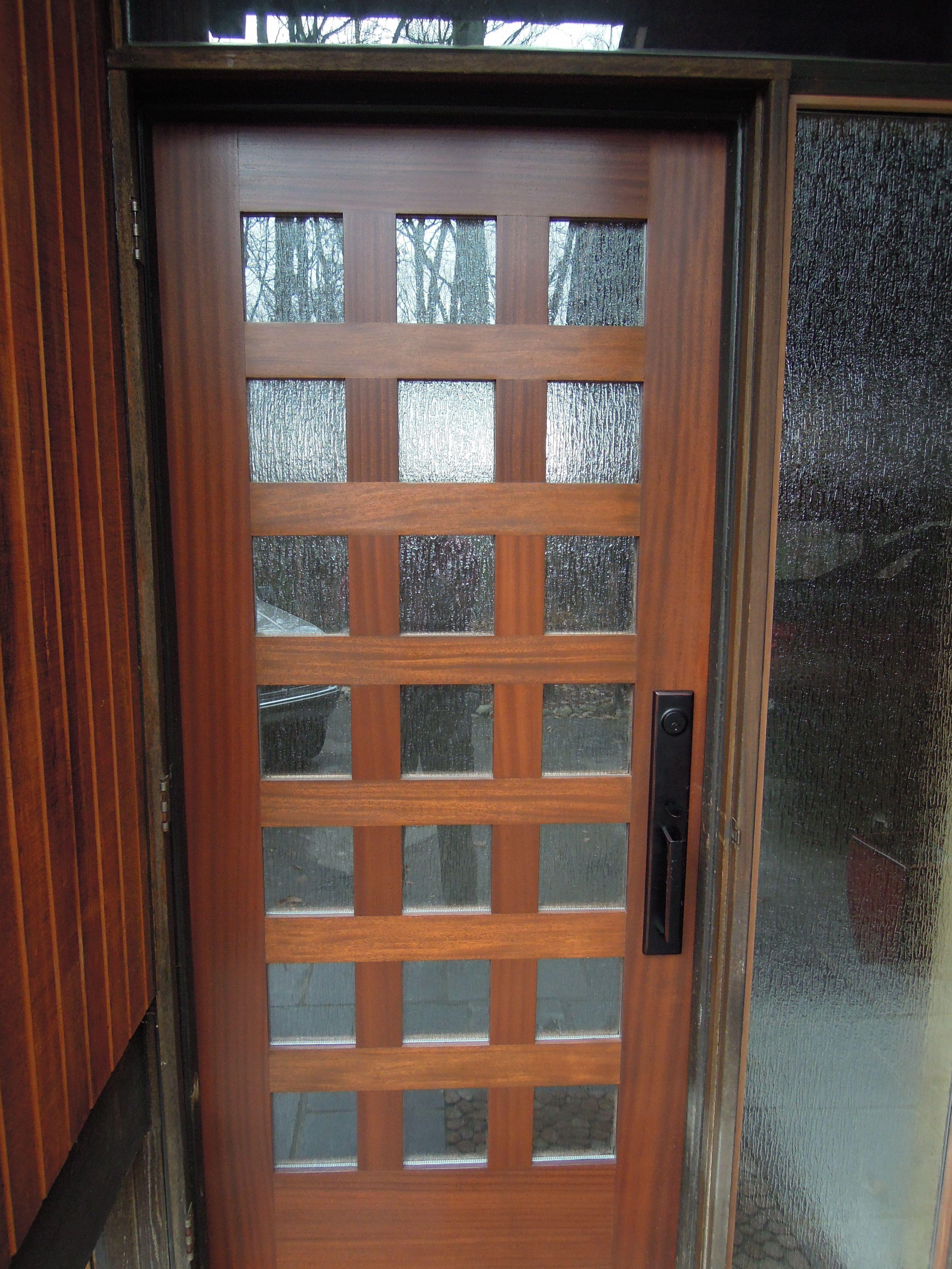 Exceptional Teak Wooden Mirror Lite Modern Front Door With