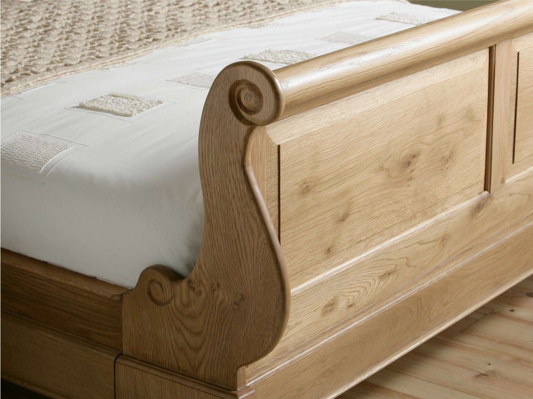 Toulouse Oak Wooden Sleigh Bed King Size Bed Frame Only