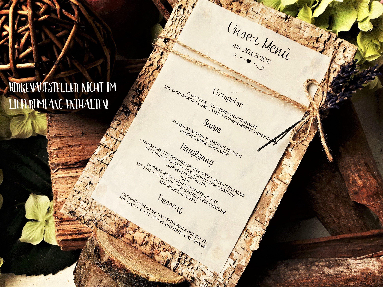 Menükarte Menü Hochzeit Vintage Getränkekarte Holz Birkenholz Jute ...