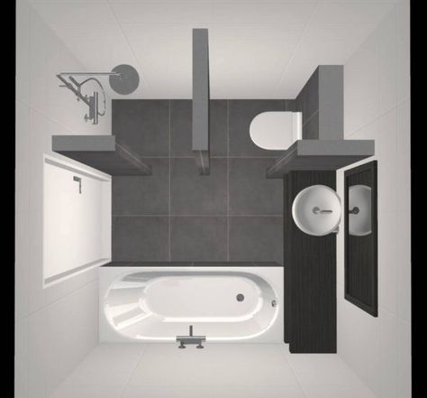 Kleine Badkamer met Douche, Bad, Wastafel en Toilet - Ontwerp ...