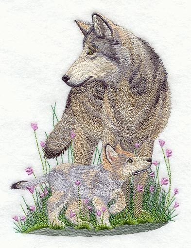Embroidered wolf & cub quilt block,quilt panel,cushion panel,quilt ... : cushion panels to quilt - Adamdwight.com