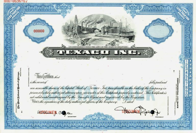Stock Certificate Scripophily \/ FAMOUS NAMES \/ Stock - blank stock certificate template