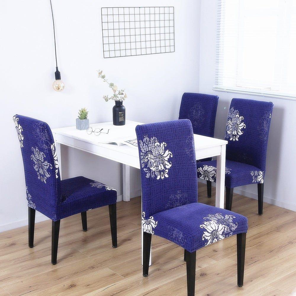 Enova Home Navy Blue Elegant Polyester and Spandex Stretch