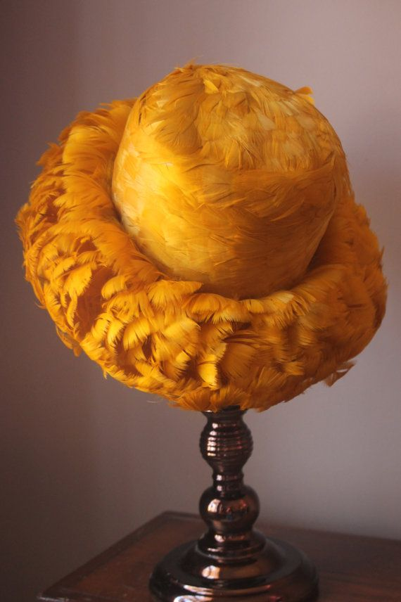 Vintage Yellow Feathered Hat by Evelyn Varon by benbeautiful 23f9641591e