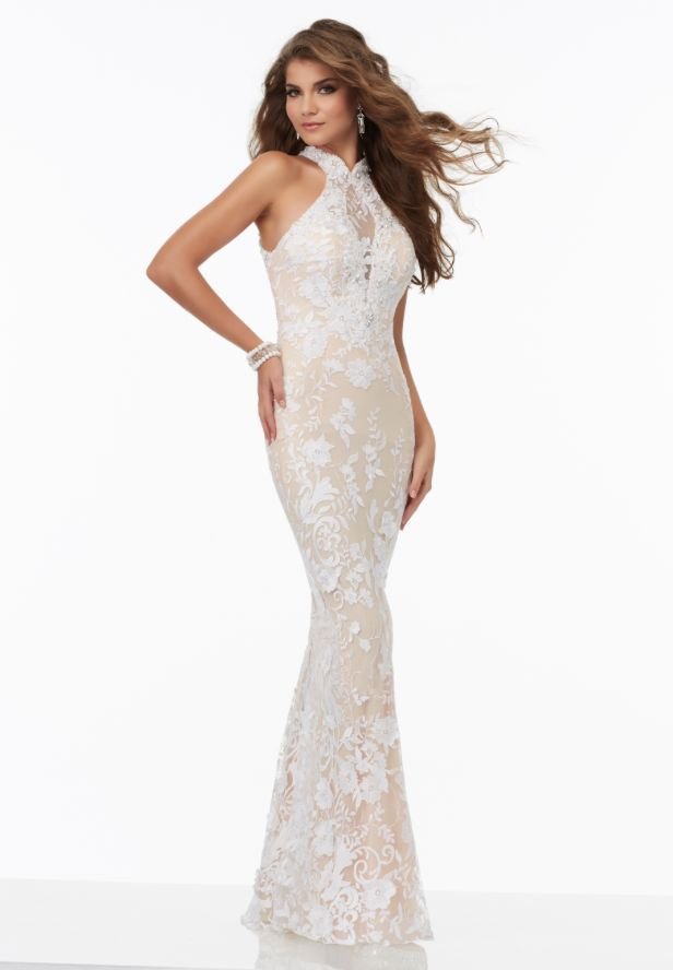 Morilee 99009 White/Nude Illusion Neckline Prom Dress | Products ...