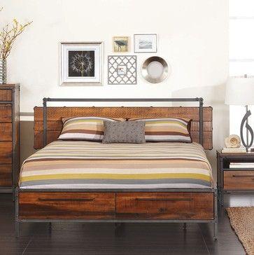 Bedroom Set Metal Meets Wood Drawers In Bed Frame Night Stands