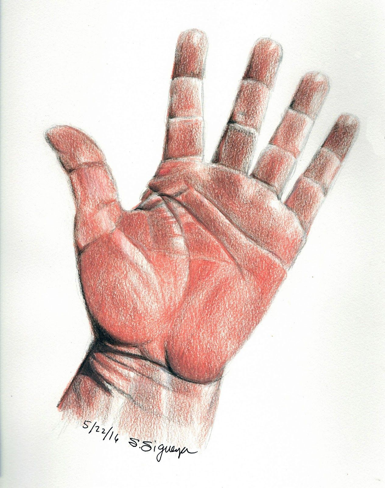 Colored pencil drawing of hand waving