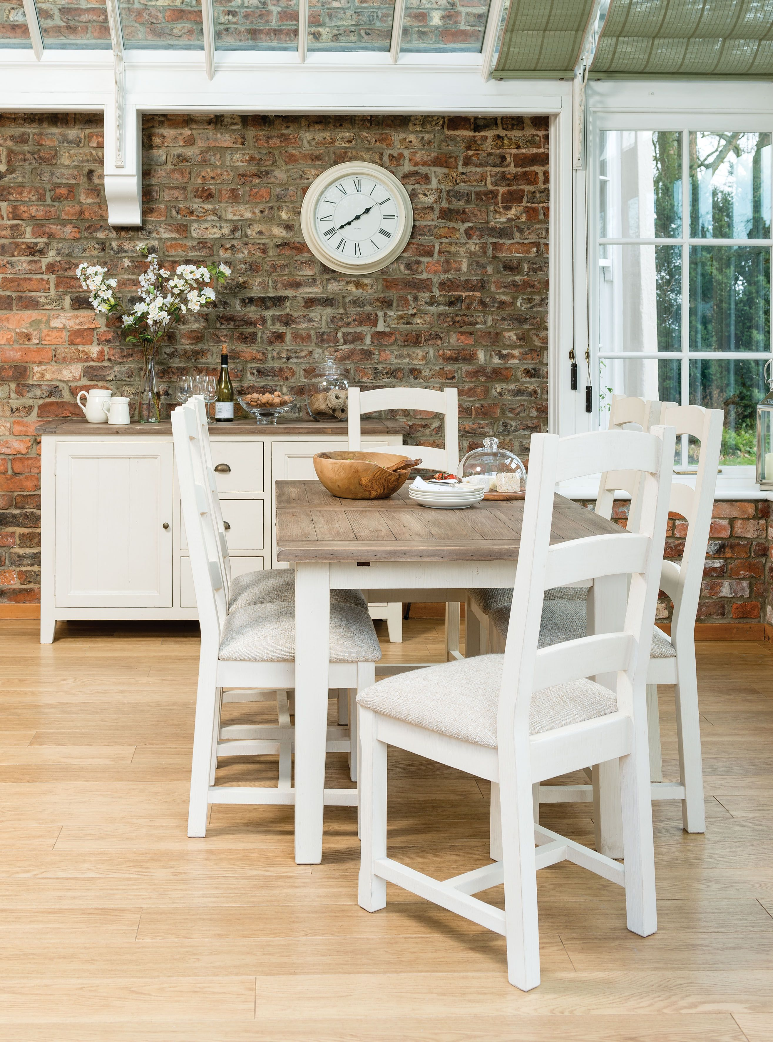 Table Repas Extensible 120 160 Bois Recycle Bristol Dining Table