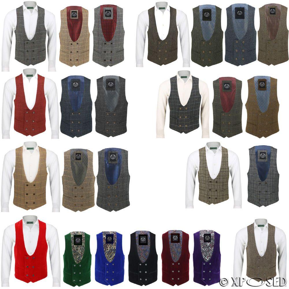 3bde3dbe67e Details about Mens Waistcoat Double Breasted U Cut Herringbone Tweed ...