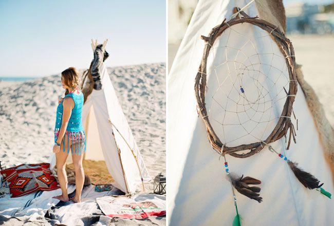 End of Summer Bohemian Shoot on the Beach  Magnolia Event Design  Tenley Erin Young  Beach teepee tee pee