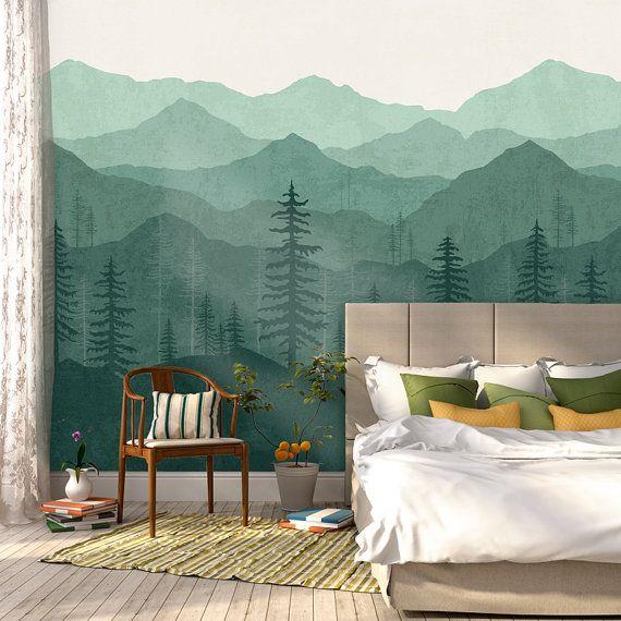 Mountain Wallpaper Woodland Wallpaper Forest Teal Green