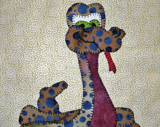 Snake pdf applique quilt pattern; cute baby boy or childs quilt