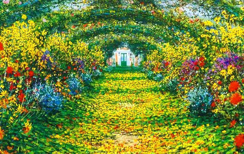 Monet garden giverny paisaje de primavera cuadro oleo for Paisajes de jardines