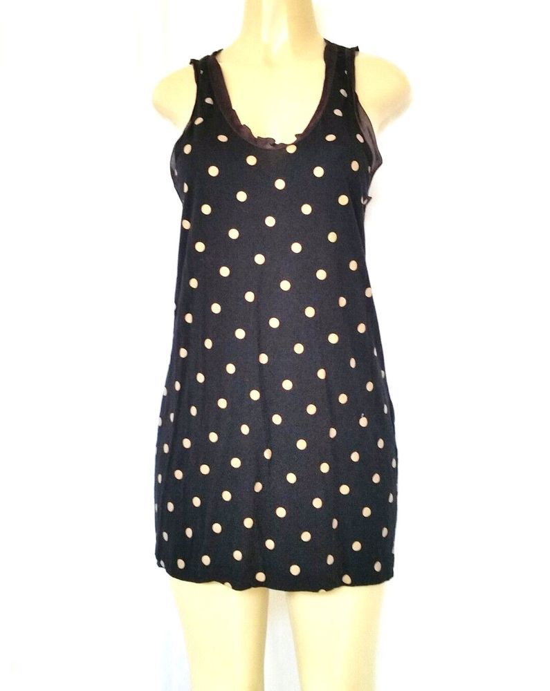 dc7dfa367ed05 3.1 Phillip Lim Black Beige Polka Dot Sleeveless Long Tank Top S Mini Dress  Cott  31PhillipLim  TankCami