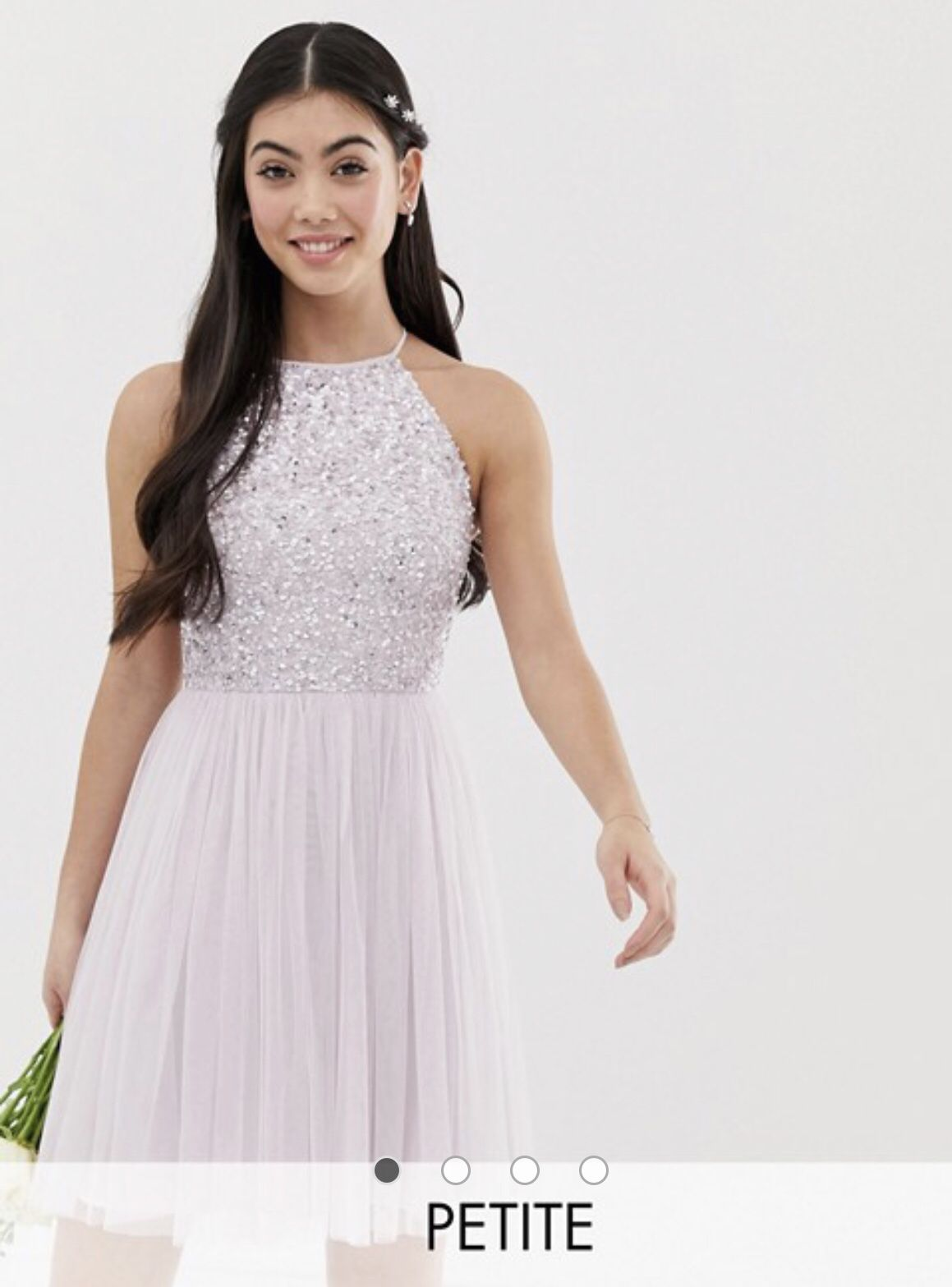 Maya Petite Bridesmaid Halter Neck Mini Tulle Dress With Tonal Delicate Sequins In Soft Lilac Asos Bridesmaid Sleeveless Tulle Dress Maxi Dress Prom