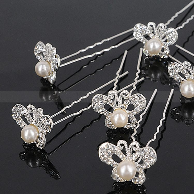 Amazing Wedding Headpiece with Butterfly-shape Rhinestones and Pearl