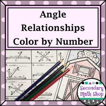 Angle Relationships Color By Number Worksheetthis Color By Number