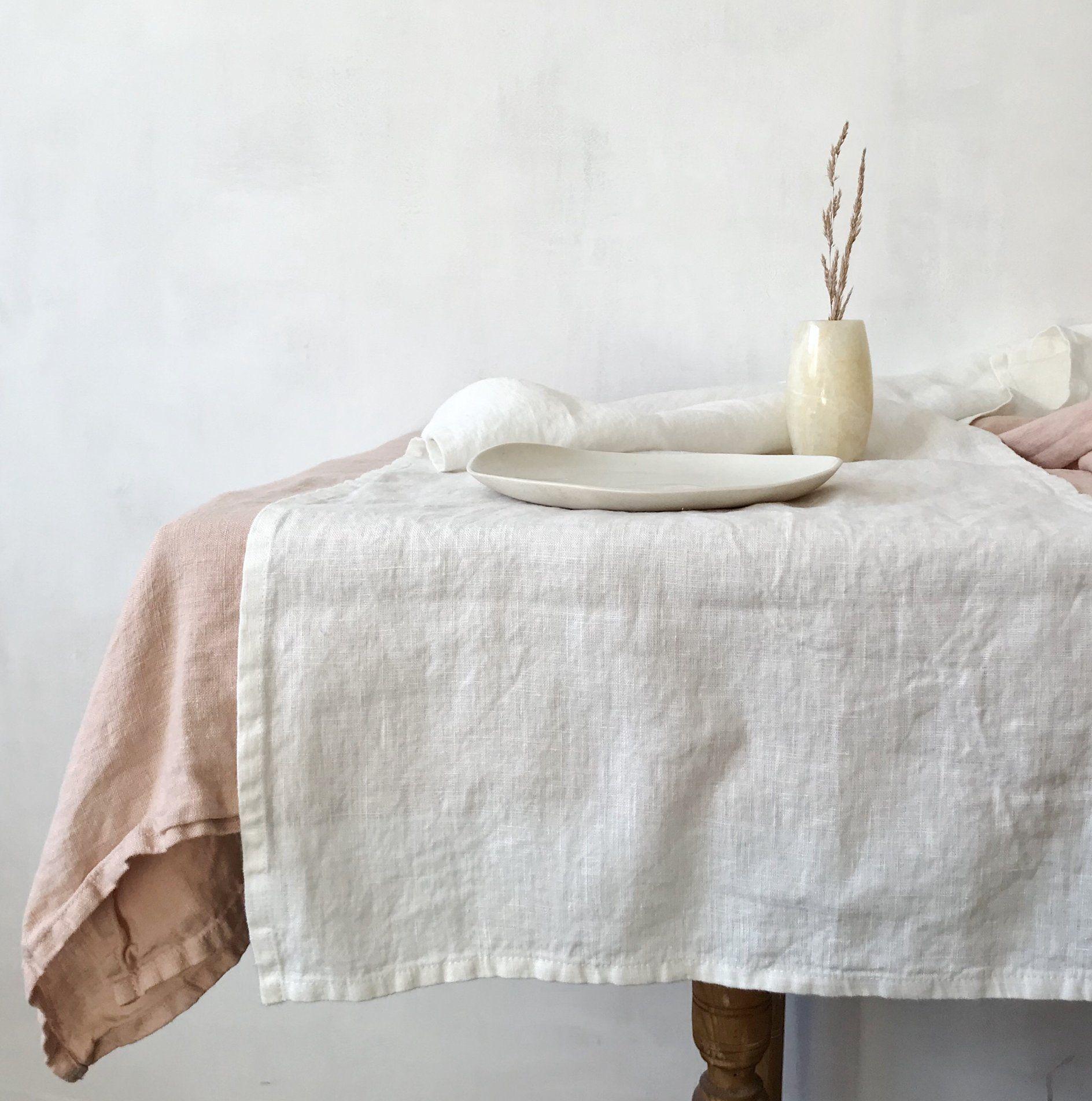 Washed Linen Tablerunner Mesas Espacio Altos