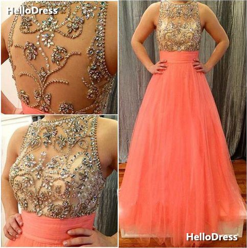 Jewel Neckline Bling Bling Beaded Bodice Coral Evening Dress Prom Gown on Storenvy